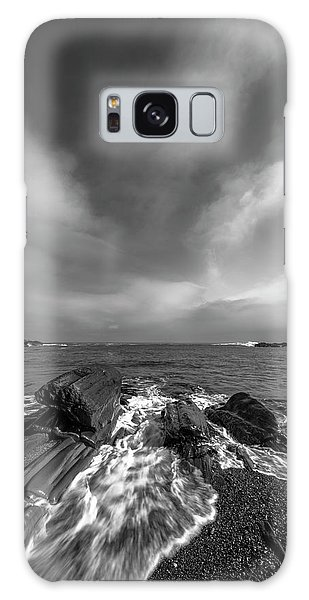 Maine Storm Clouds And Crashing Waves On Rocky Coast Galaxy Case