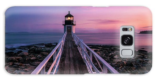 Maine Sunset At Marshall Point Lighthouse Galaxy Case