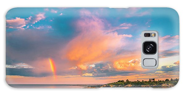 Maine Sunset - Rainbow Over Lands End Coast Galaxy Case