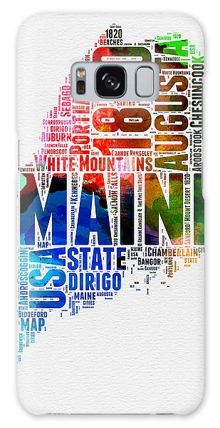America Map Galaxy Case - Maine Watercolor Word Cloud  by Naxart Studio