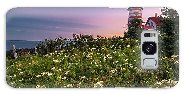 Maine West Quoddy Head Lighthouse Sunset Galaxy Case by Ranjay Mitra