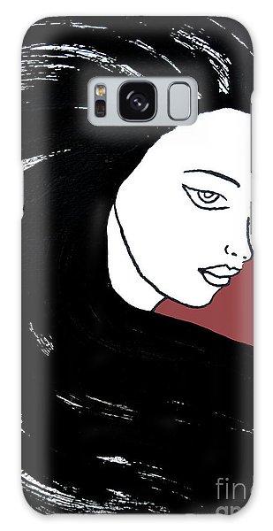 Majestic Lady J0715g Marsala Red Pastel Painting 18-1438 964648 964f4c Galaxy Case