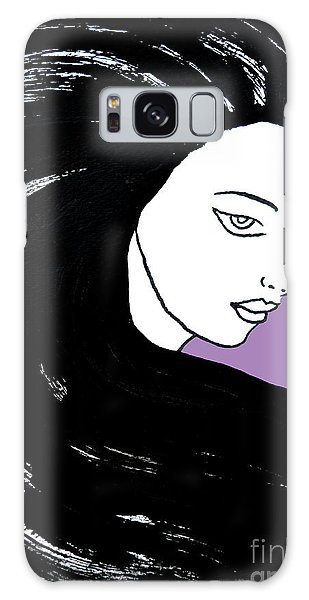 Galaxy Case featuring the painting Majestic Lady J0715h Radient Orchid Pastel Painting 18-3224 B565a7 A985bb by Mas Art Studio