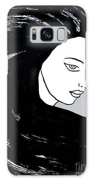 Galaxy Case featuring the painting Majestic Lady J0715i Shadow Gray Pastel Painting 16-1509 Bba5a0 C6cacc by Mas Art Studio
