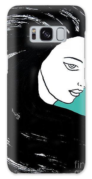 Majestic Lady J0715k Turquoise Green Pastel Painting 15-5519 41b6ab Galaxy Case
