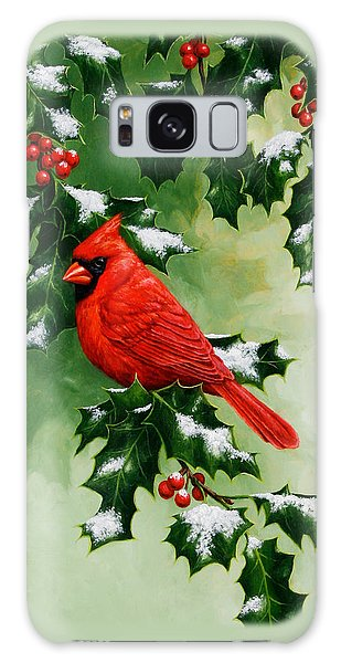 Song Bird Galaxy Case - Male Cardinal And Holly Phone Case by Crista Forest