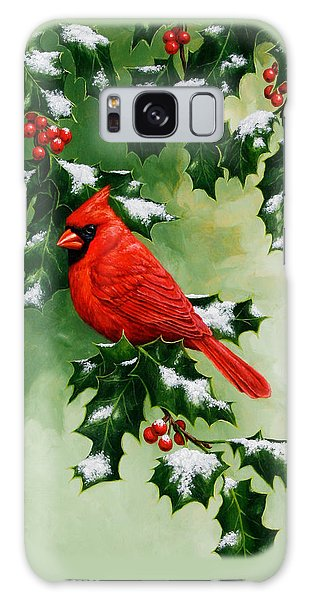 Male Cardinal And Holly Phone Case Galaxy Case by Crista Forest