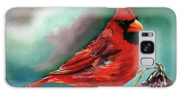 Male Cardinal And Snowy Cherries Galaxy Case