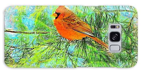 Male Cardinal In Juniper Tree Galaxy Case