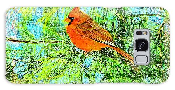 Male Cardinal In Juniper Tree Galaxy Case