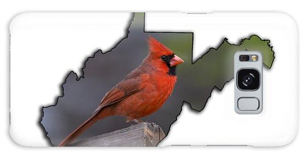 Male Cardinal Perched On Rail Galaxy Case