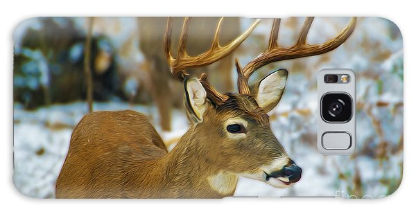 White-tailed Deer Galaxy Case - Male Deer In Snow by Laura D Young