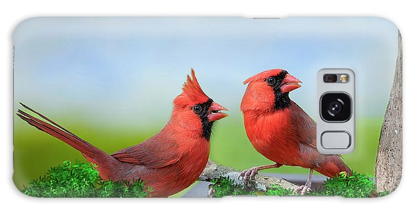 Male Northern Cardinals In Spring Galaxy Case by Bonnie Barry