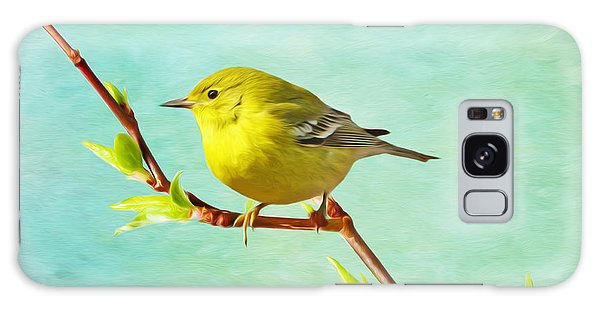 Male Pine Warbler On Forsythia Branch Galaxy S8 Case