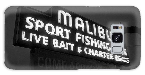Malibu Pier Sign In Bw Galaxy Case