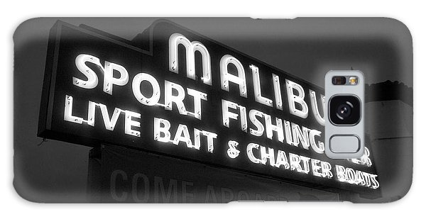 Malibu Pier Sign In Bw Galaxy Case by Glenn McCarthy Art and Photography