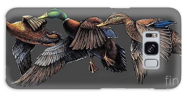 Mallard Ducks In Flight Galaxy Case