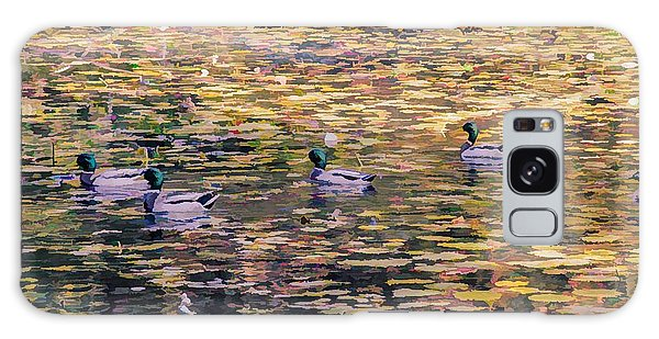 Mallards On Autumn Pond Galaxy Case