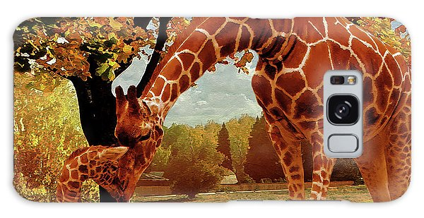 Mama Africa Galaxy Case - Mama Giraffe Feeding  by Gull G