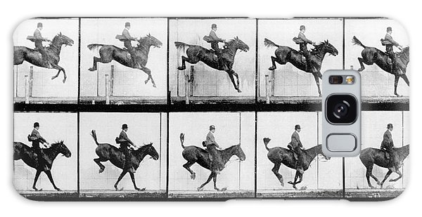 Horse Galaxy Case - Man And Horse Jumping by Eadweard Muybridge
