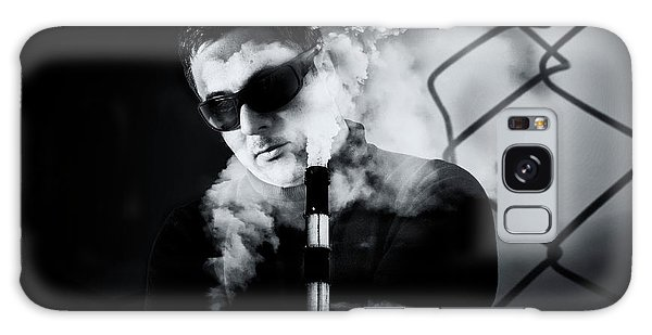 Man In Sunglasses And Industrial Chimney Stack Creative Image Galaxy Case