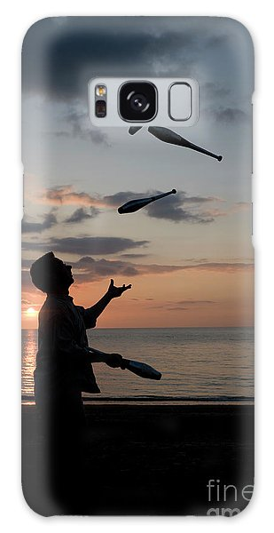 Man Juggling With Four Clubs At Sunset Galaxy Case