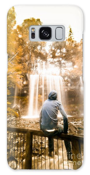 Galaxy Case featuring the photograph Man Looking At Waterfall by Jorgo Photography - Wall Art Gallery