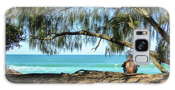 Man Relaxing At The Beach Galaxy Case