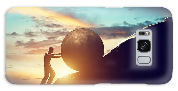Man Rolling Huge Concrete Ball Up Hill Galaxy Case