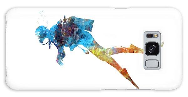 Scuba Diving Galaxy Case - Man Scuba Diver 01 In Watercolor by Pablo Romero