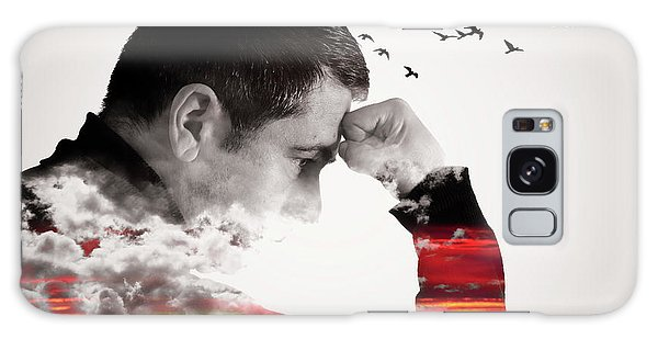 Man Thinking Double Exposure With Birds Galaxy Case