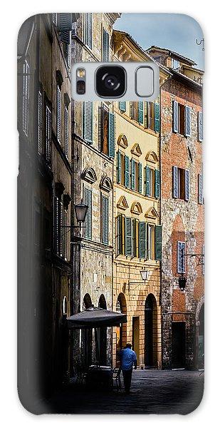 Man Walking Alone In Small Street In Siena, Tuscany, Italy Galaxy Case