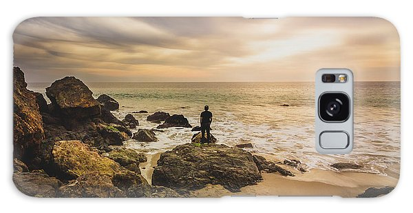 Man Watching Sunset In Malibu Galaxy Case