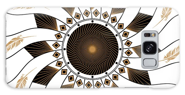 Galaxy Case featuring the digital art Mandala Black And Gold by Linda Lees