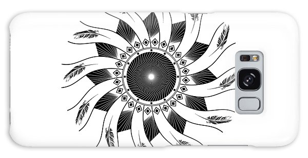 Galaxy Case featuring the digital art Mandala Black And White by Linda Lees