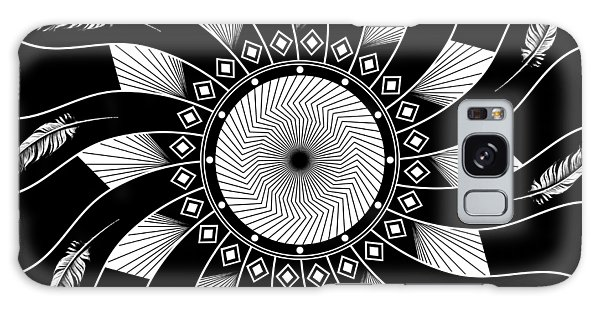 Galaxy Case featuring the digital art Mandala White And Black by Linda Lees