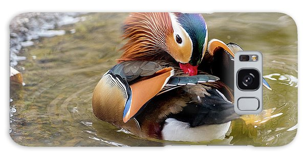Mandarin Duck Preening Feathers Galaxy Case