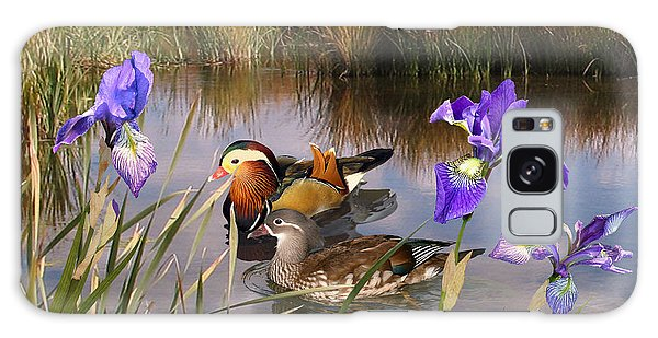 Mandarin Ducks And Wild Iris Galaxy Case