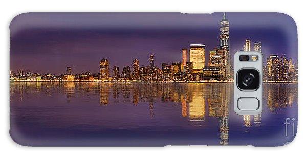 Manhattan, New York At Dusk Panoramic View Galaxy Case