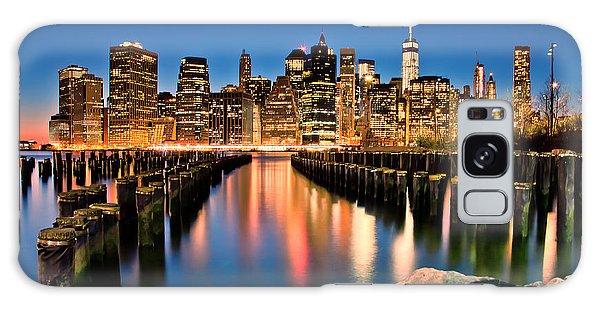Manhattan Skyline At Dusk Galaxy Case