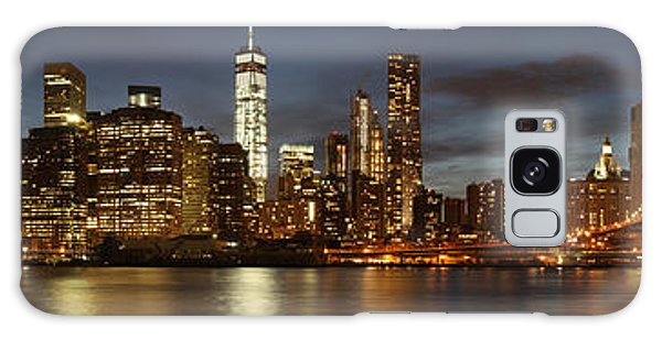 Galaxy Case featuring the photograph Manhattan Skyline At Night - Panorama by Nathan Rupert