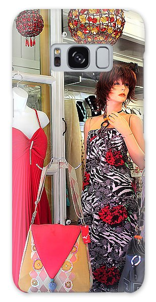 Mannequin With Stripped Flower Dress Galaxy Case