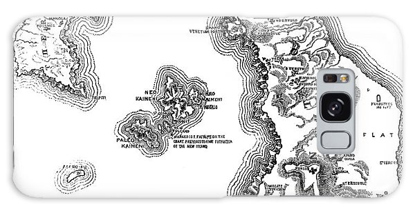 Bay Galaxy Case - Map Of The Island And Bay Of Santorini In The Greek Archipelago by English School