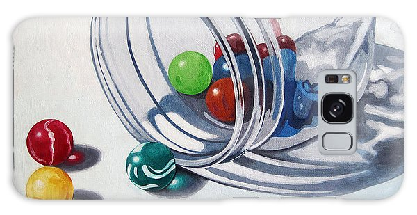 Marbles And Glass Jar Still Life Painting Galaxy Case