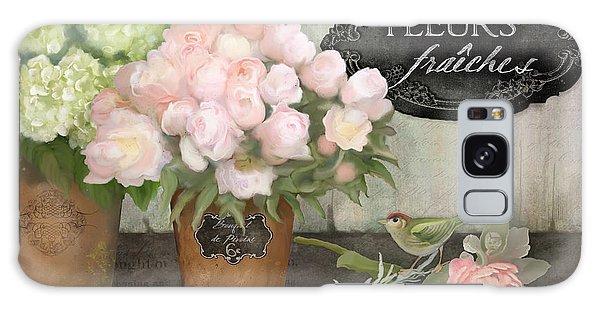 Marche Aux Fleurs 2 - Peonies N Hydrangeas W Bird Galaxy Case by Audrey Jeanne Roberts