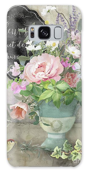 Galaxy Case featuring the painting Marche Aux Fleurs 3 Peony Tulips Sweet Peas Lavender And Bird by Audrey Jeanne Roberts