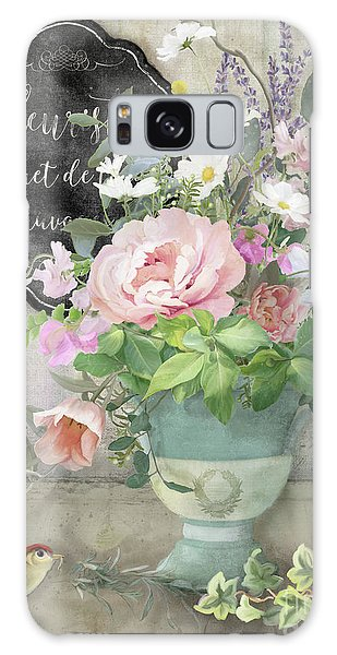 Marche Aux Fleurs 3 Peony Tulips Sweet Peas Lavender And Bird Galaxy Case by Audrey Jeanne Roberts