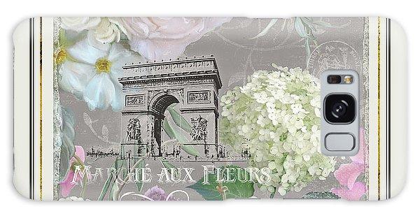 Marche Aux Fleurs Vintage Paris Arc De Triomphe Galaxy Case by Audrey Jeanne Roberts