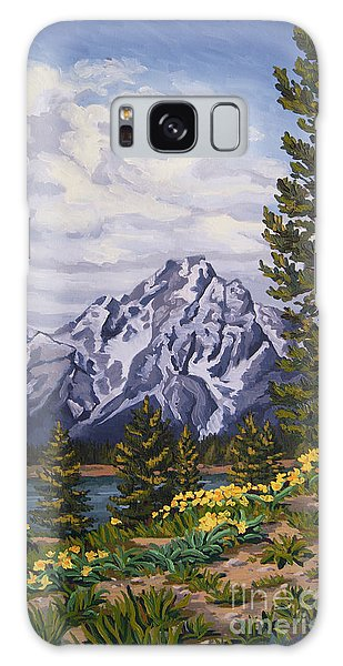 Galaxy Case featuring the painting Marina's Edge, Jenny Lake, Grand Tetons by Erin Fickert-Rowland