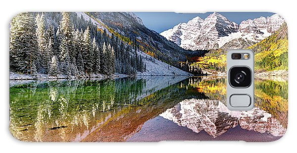 Olena Art Sunrise At Maroon Bells Lake Autumn Aspen Trees In The Rocky Mountains Near Aspen Colorado Galaxy Case